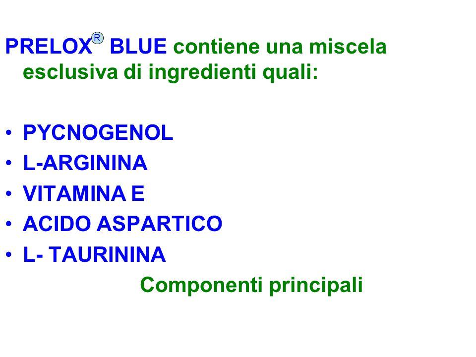 PRELOX BLUE contiene una miscela esclusiva di ingredienti quali: PYCNOGENOL L-ARGININA VITAMINA E ACIDO ASPARTICO L- TAURININA Componenti principali R