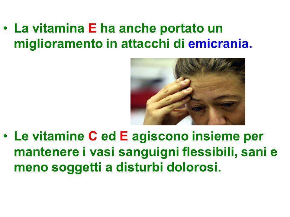 La vitamina E ha anche portato un miglioramento in attacchi di emicrania. Le vitamine C ed E agiscono insieme per mantenere i vasi sanguigni flessibil