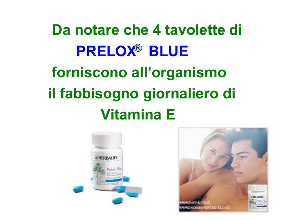Da notare che 4 tavolette di PRELOX BLUE forniscono all'organismo il fabbisogno giornaliero di Vitamina E RR