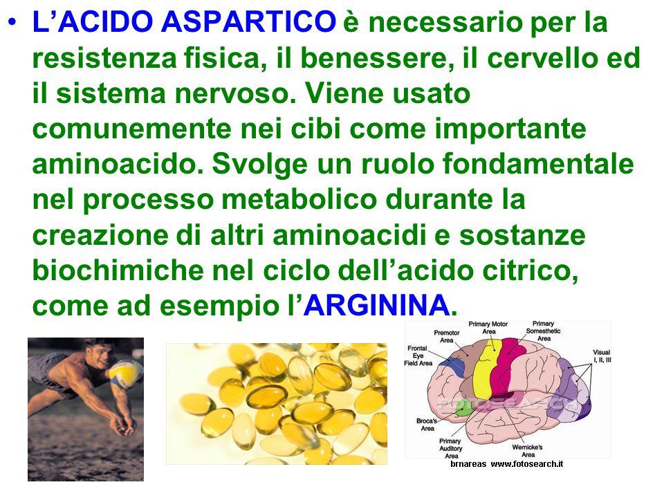 L'ACIDO ASPARTICO è necessario per la resistenza fisica, il benessere, il cervello ed il sistema nervoso. Viene usato comunemente nei cibi come import
