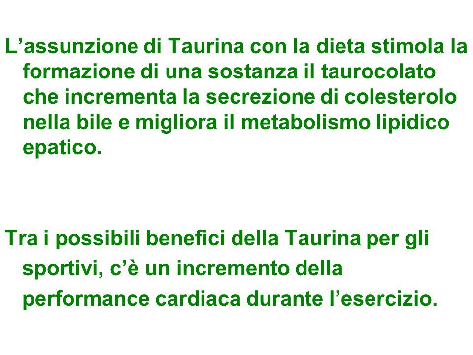 L'assunzione di Taurina con la dieta stimola la formazione di una sostanza il taurocolato che incrementa la secrezione di colesterolo nella bile e mig
