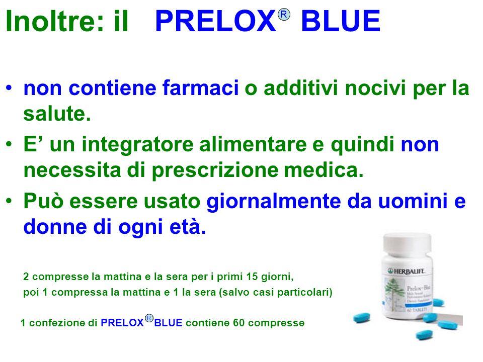 Inoltre: il PRELOX BLUE non contiene farmaci o additivi nocivi per la salute. E' un integratore alimentare e quindi non necessita di prescrizione medi