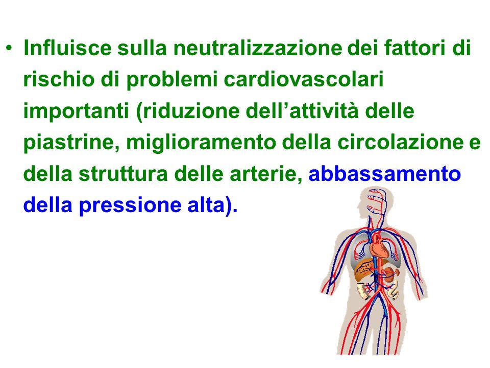 Influisce sulla neutralizzazione dei fattori di rischio di problemi cardiovascolari importanti (riduzione dell'attività delle piastrine, miglioramento della circolazione e della struttura delle arterie, abbassamento della pressione alta).