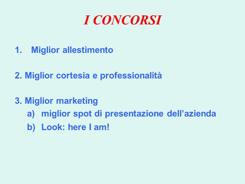 I CONCORSI 1.Miglior allestimento 2.Miglior cortesia e professionalità 3.