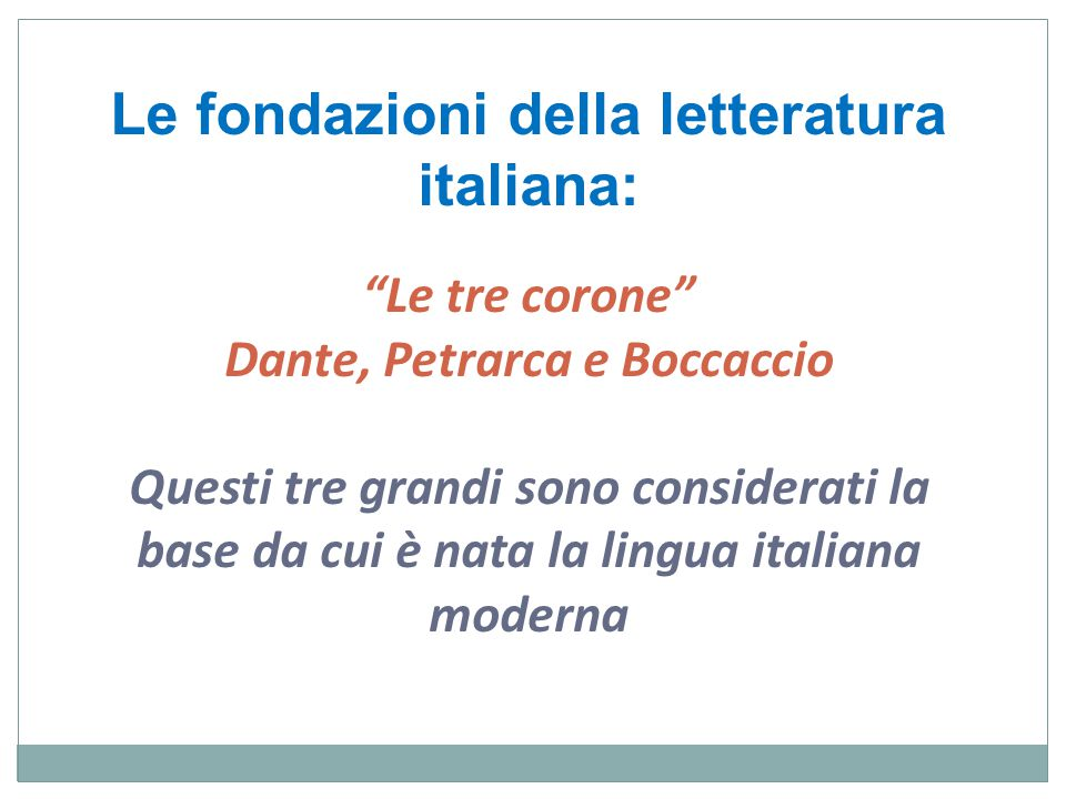 Le tre corone Dante, Petrarca e Boccaccio Questi tre grandi sono considerati la base da cui è nata la lingua italiana moderna Le fondazioni della letteratura italiana: