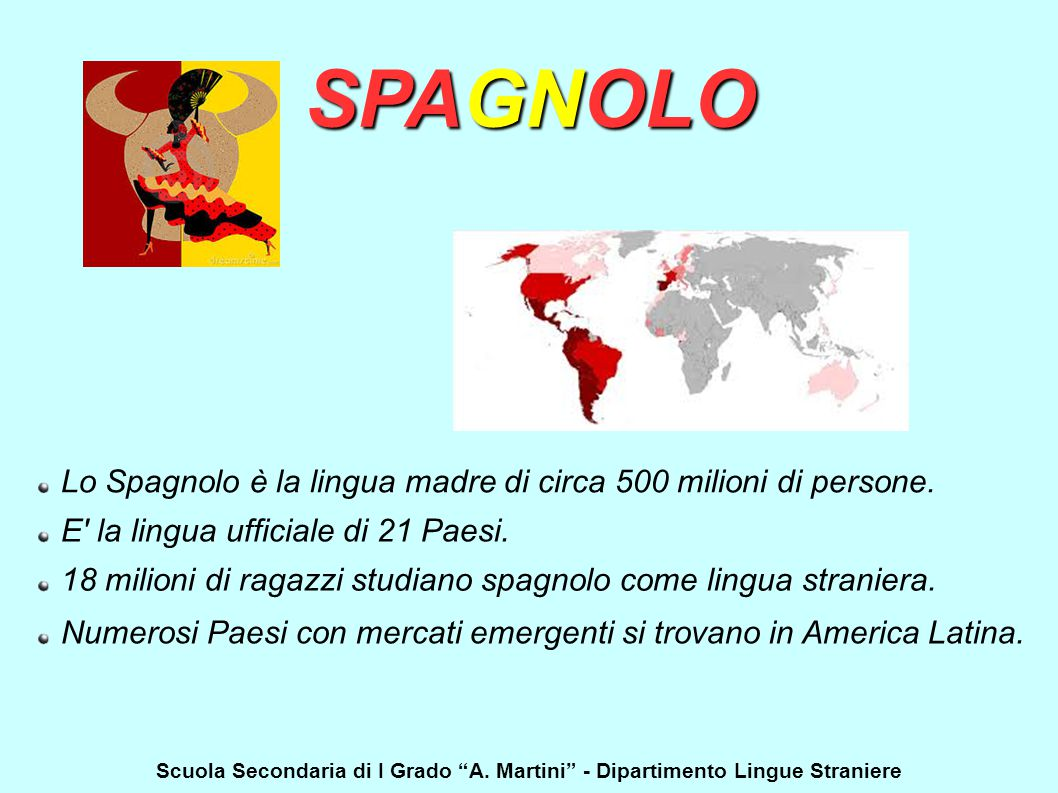 SPAGNOLO Lo Spagnolo è la lingua madre di circa 500 milioni di persone. E' la lingua ufficiale di 21 Paesi. 18 milioni di ragazzi studiano spagnolo co