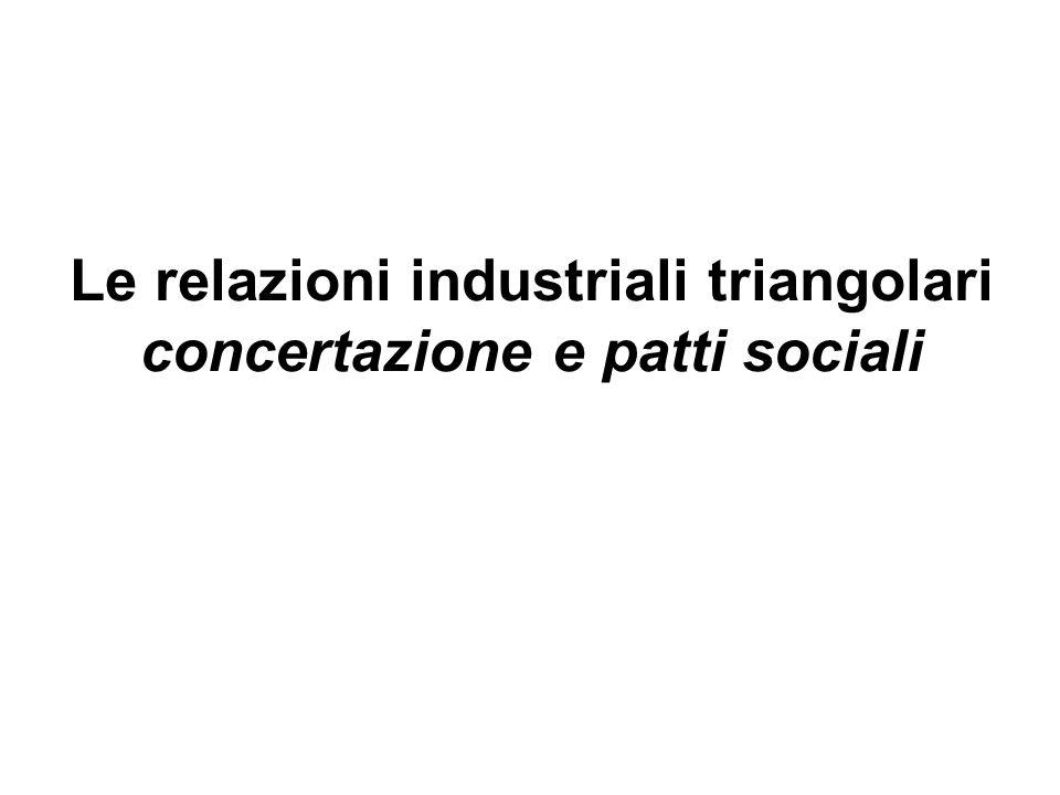 Le relazioni industriali triangolari concertazione e patti sociali