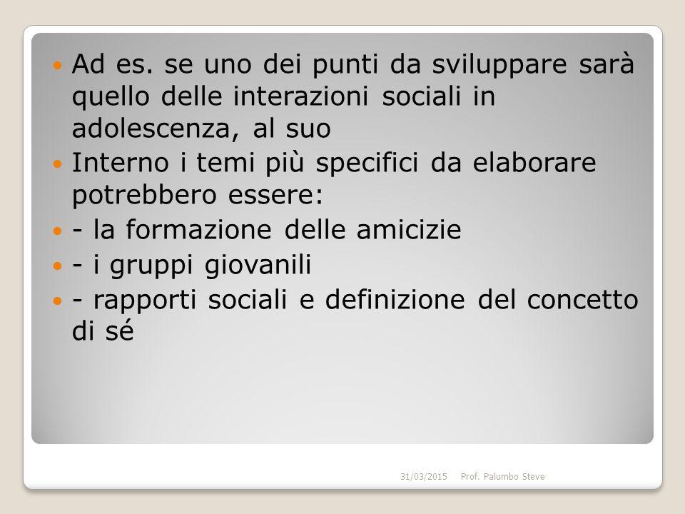 Ad es. se uno dei punti da sviluppare sarà quello delle interazioni sociali in adolescenza, al suo Interno i temi più specifici da elaborare potrebber