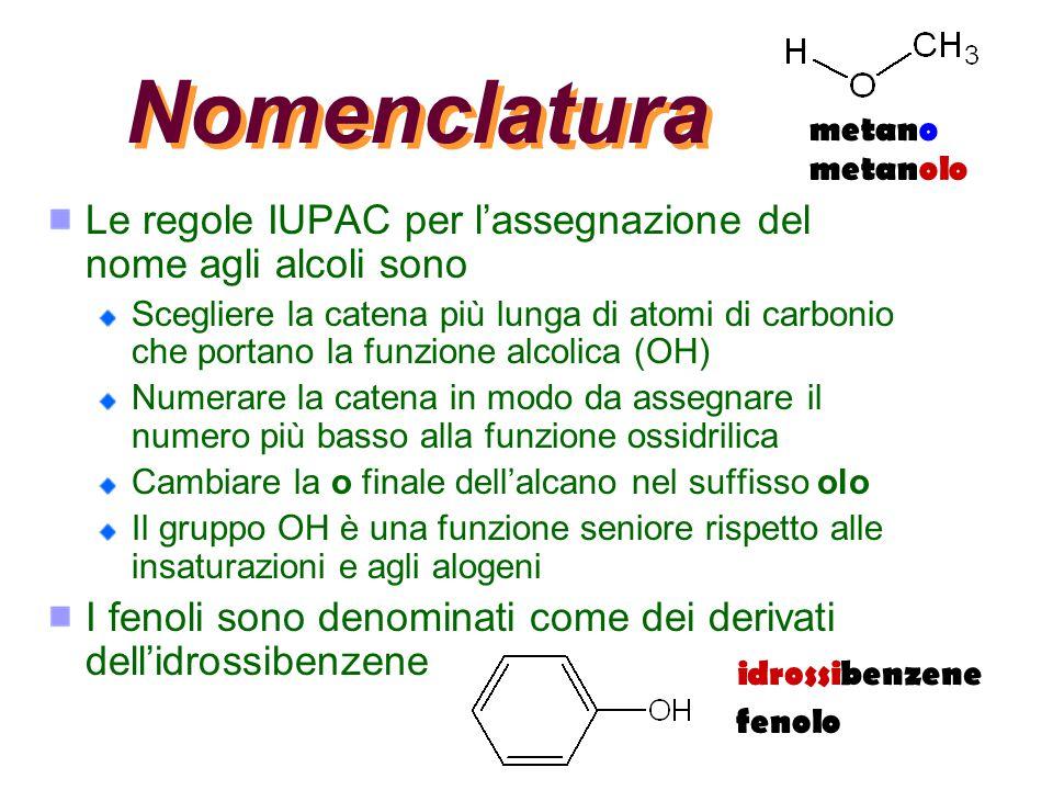 Nomenclatura Le regole IUPAC per l'assegnazione del nome agli alcoli sono Scegliere la catena più lunga di atomi di carbonio che portano la funzione a
