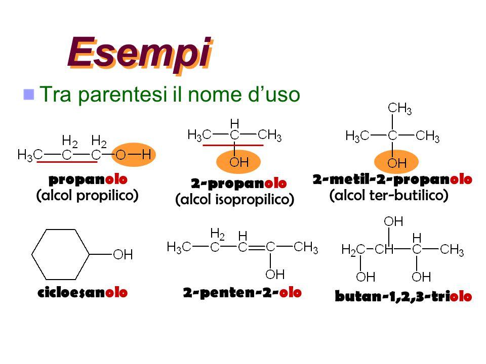 Esempi Tra parentesi il nome d'uso propanolo (alcol propilico) 2-propanolo (alcol isopropilico) 2-metil-2-propanolo (alcol ter-butilico) cicloesanolo2