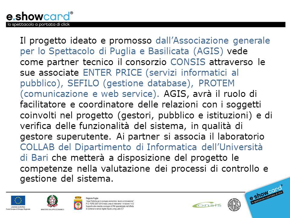 Il progetto ideato e promosso dall'Associazione generale per lo Spettacolo di Puglia e Basilicata (AGIS) vede come partner tecnico il consorzio CONSIS attraverso le sue associate ENTER PRICE (servizi informatici al pubblico), SEFILO (gestione database), PROTEM (comunicazione e web service).