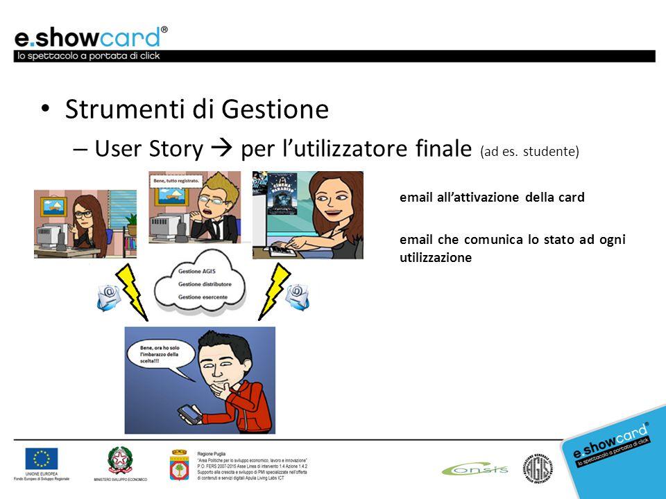 Strumenti di Gestione – User Story  per l'utilizzatore finale (ad es. studente) email all'attivazione della card email che comunica lo stato ad ogni