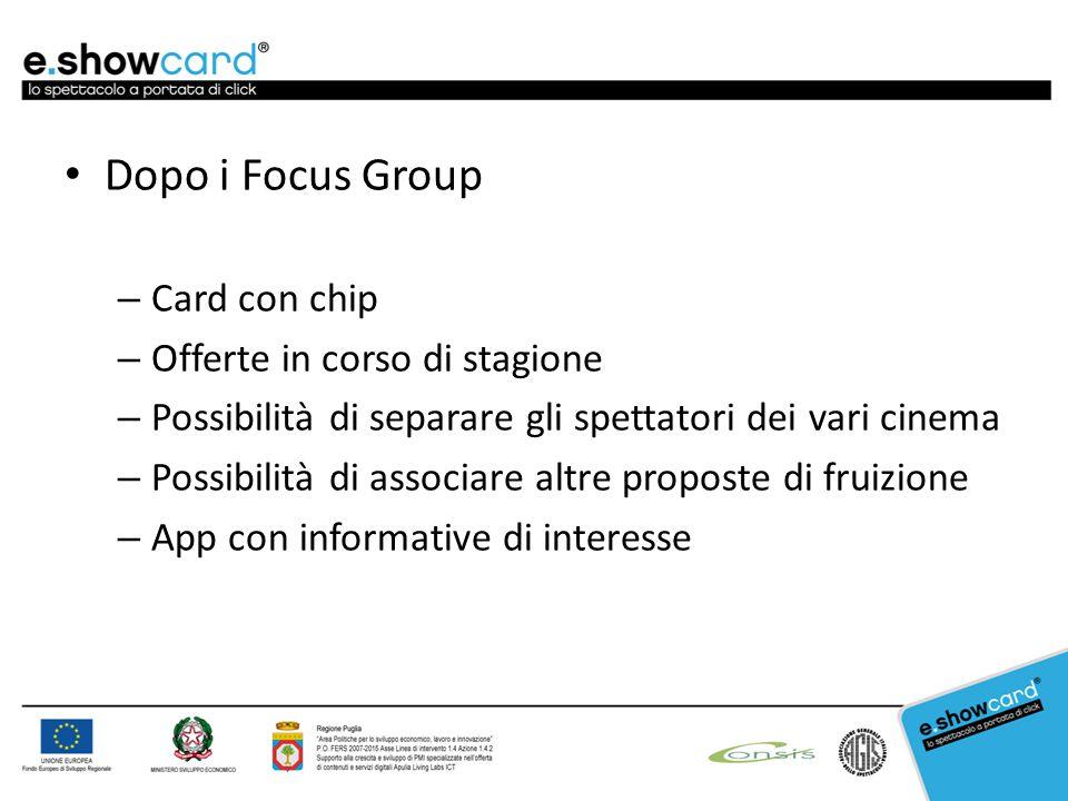 Dopo i Focus Group –C–Card con chip –O–Offerte in corso di stagione –P–Possibilità di separare gli spettatori dei vari cinema –P–Possibilità di associare altre proposte di fruizione –A–App con informative di interesse