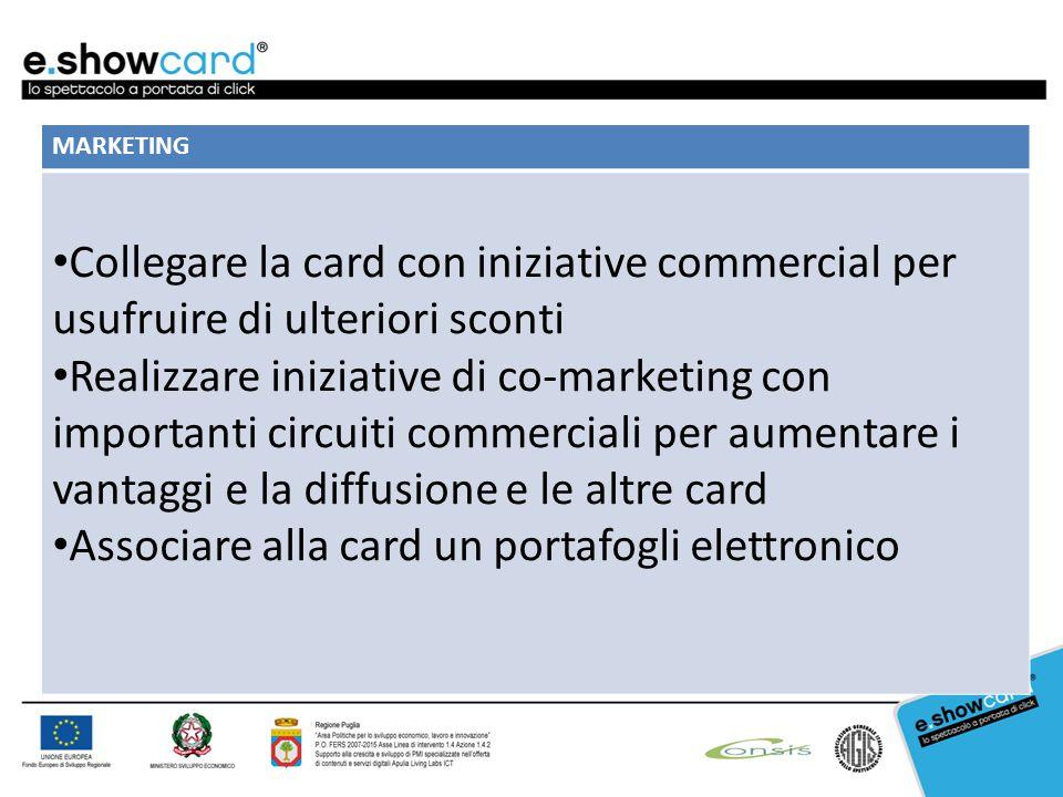 MARKETING Collegare la card con iniziative commercial per usufruire di ulteriori sconti Realizzare iniziative di co-marketing con importanti circuiti commerciali per aumentare i vantaggi e la diffusione e le altre card Associare alla card un portafogli elettronico