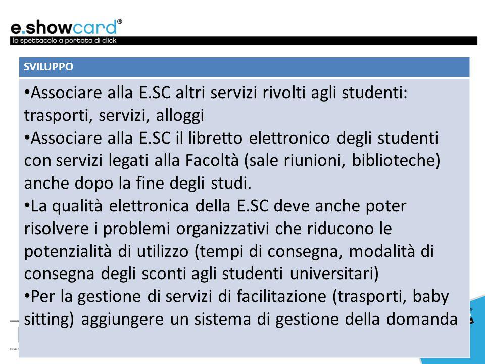 SVILUPPO Associare alla E.SC altri servizi rivolti agli studenti: trasporti, servizi, alloggi Associare alla E.SC il libretto elettronico degli studen