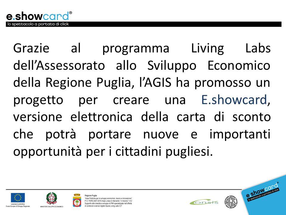Grazie al programma Living Labs dell'Assessorato allo Sviluppo Economico della Regione Puglia, l'AGIS ha promosso un progetto per creare una E.showcard, versione elettronica della carta di sconto che potrà portare nuove e importanti opportunità per i cittadini pugliesi.