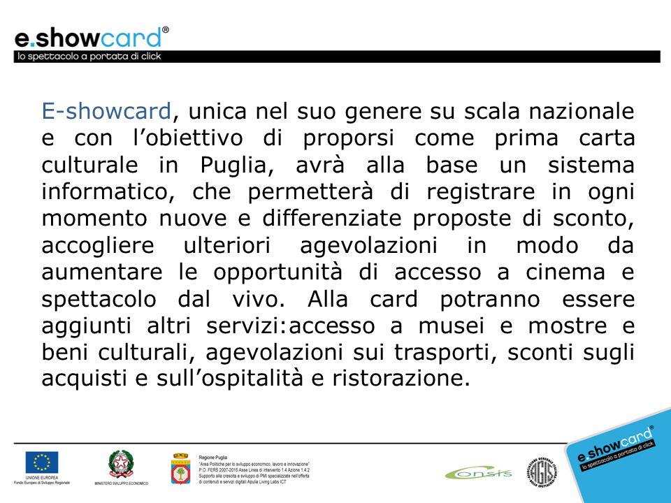 E-showcard, unica nel suo genere su scala nazionale e con l'obiettivo di proporsi come prima carta culturale in Puglia, avrà alla base un sistema info