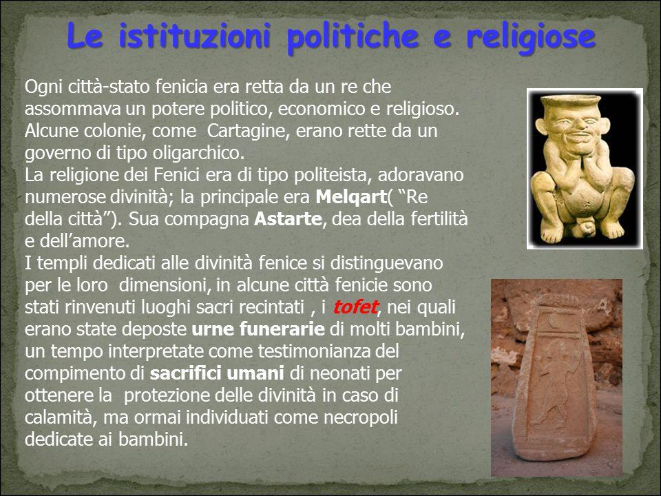 Le istituzioni politiche e religiose Ogni città-stato fenicia era retta da un re che assommava un potere politico, economico e religioso. Alcune colon