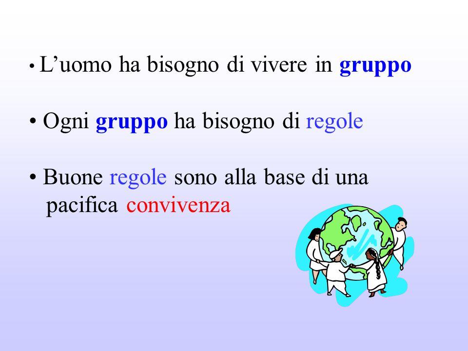 L'uomo ha bisogno di vivere in gruppo Ogni gruppo ha bisogno di regole Buone regole sono alla base di una pacifica convivenza