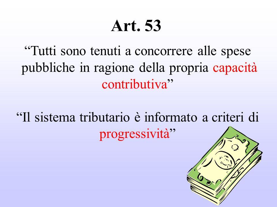 Tutti sono tenuti a concorrere alle spese pubbliche in ragione della propria capacità contributiva Il sistema tributario è informato a criteri di progressività Art.