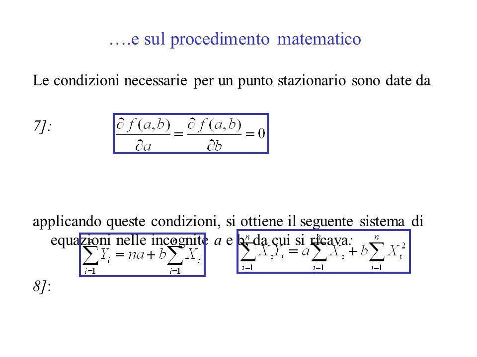 ….e sul procedimento matematico Le condizioni necessarie per un punto stazionario sono date da 7]: applicando queste condizioni, si ottiene il seguent
