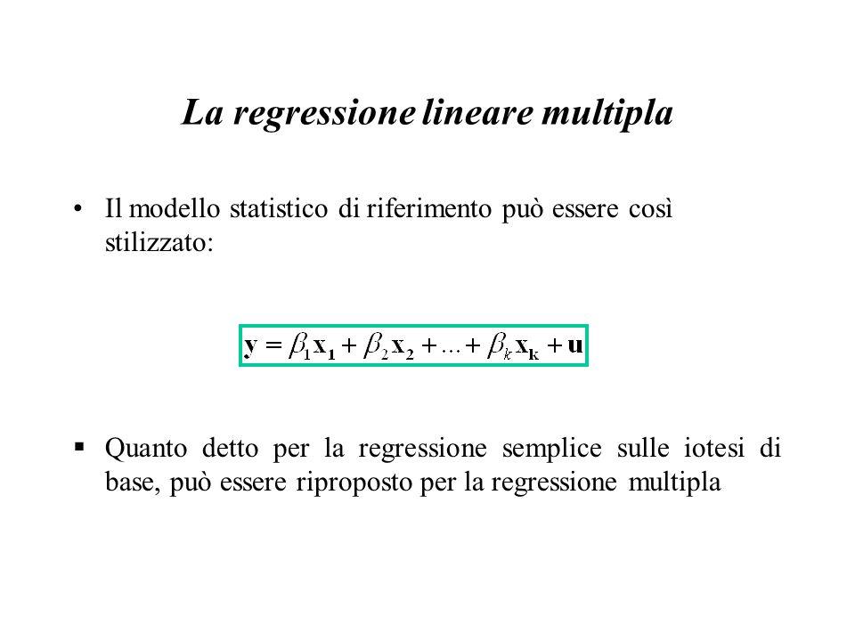 La regressione lineare multipla Il modello statistico di riferimento può essere così stilizzato:  Quanto detto per la regressione semplice sulle iote
