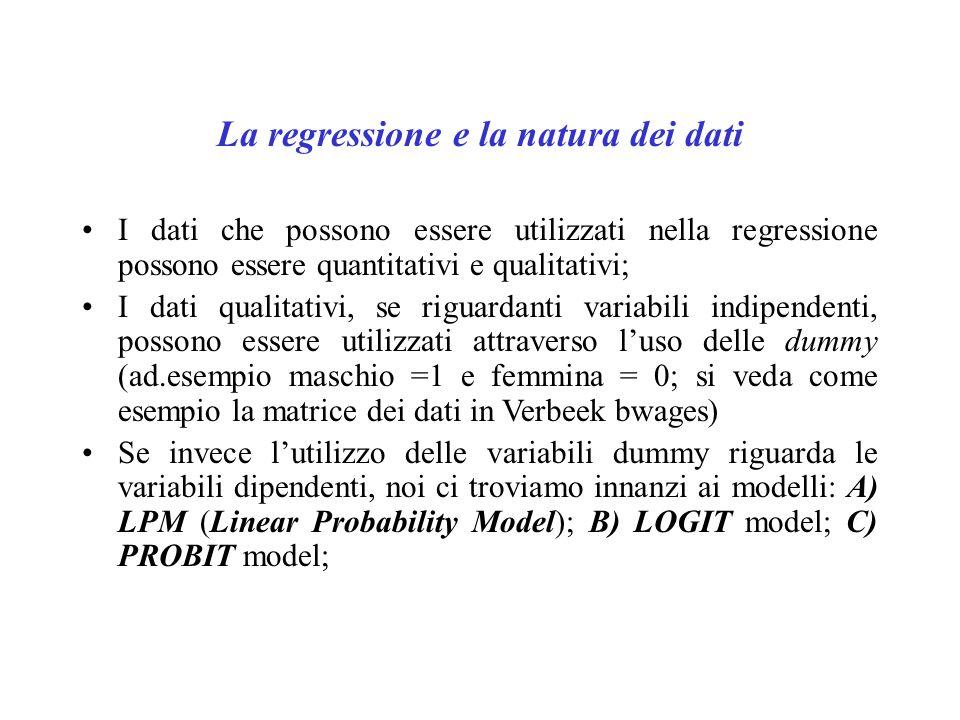 La regressione e la natura dei dati I dati che possono essere utilizzati nella regressione possono essere quantitativi e qualitativi; I dati qualitati
