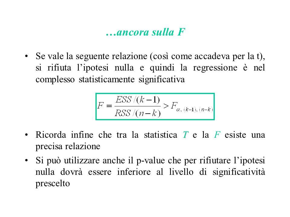 …ancora sulla F Se vale la seguente relazione (così come accadeva per la t), si rifiuta l'ipotesi nulla e quindi la regressione è nel complesso statis