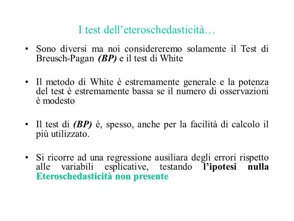 I test dell'eteroschedasticità… Sono diversi ma noi considereremo solamente il Test di Breusch-Pagan (BP) e il test di White Il metodo di White è estr