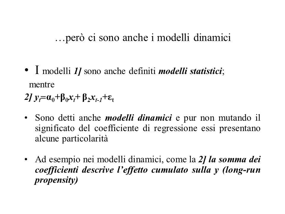 …però ci sono anche i modelli dinamici I modelli 1] sono anche definiti modelli statistici; mentre 2] y t  α 0 +β 0 x t + β 2 x t-1 +ε t Sono detti a