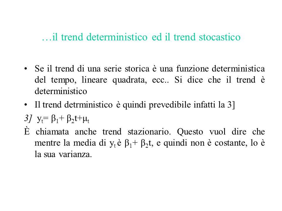 …il trend deterministico ed il trend stocastico Se il trend di una serie storica è una funzione deterministica del tempo, lineare quadrata, ecc.. Si d