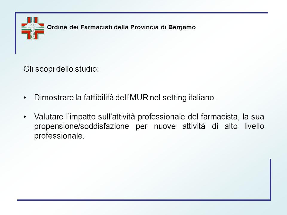 Ordine dei Farmacisti della Provincia di Bergamo Gli scopi dello studio: Dimostrare la fattibilità dell'MUR nel setting italiano. Valutare l'impatto s