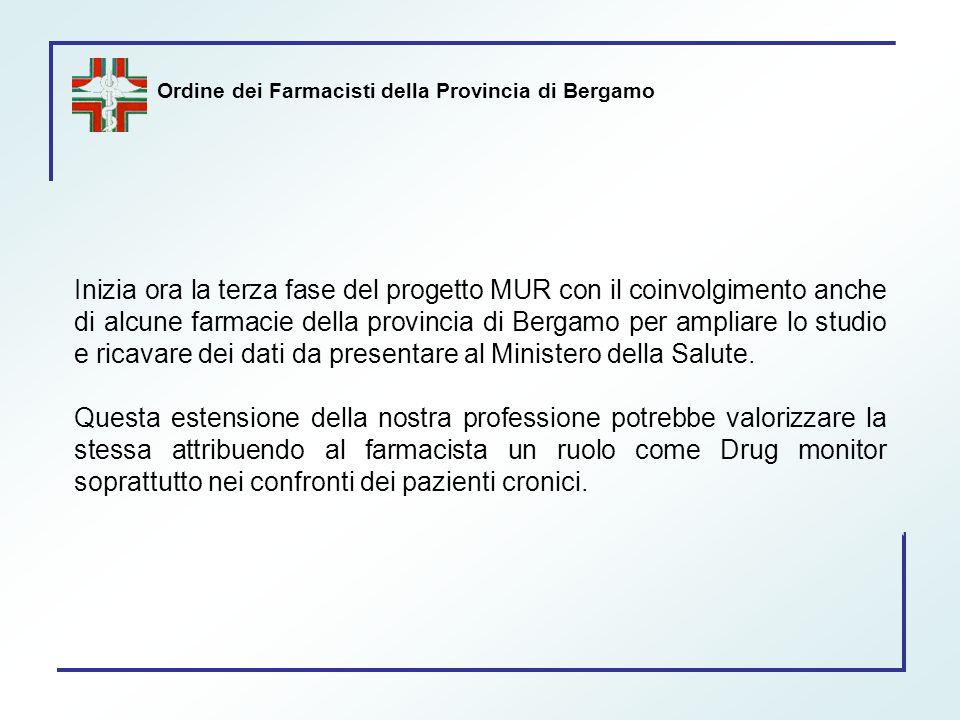 Ordine dei Farmacisti della Provincia di Bergamo Inizia ora la terza fase del progetto MUR con il coinvolgimento anche di alcune farmacie della provin