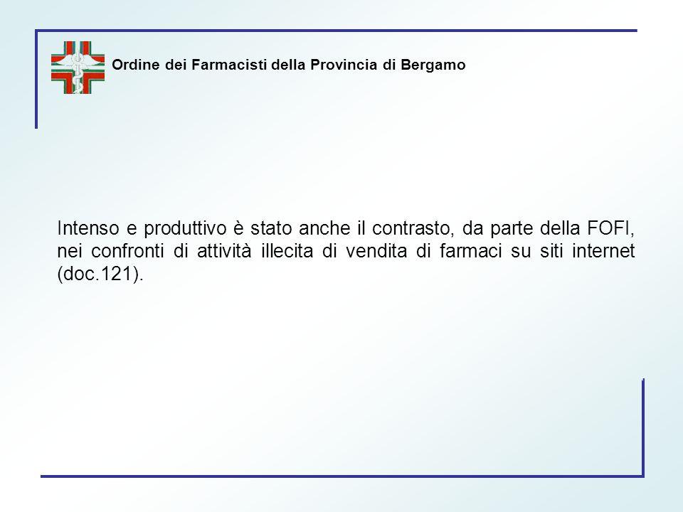 Ordine dei Farmacisti della Provincia di Bergamo Intenso e produttivo è stato anche il contrasto, da parte della FOFI, nei confronti di attività illec