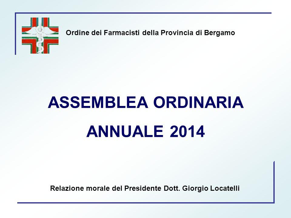 Ordine dei Farmacisti della Provincia di Bergamo ASSEMBLEA ORDINARIA ANNUALE 2014 Relazione morale del Presidente Dott. Giorgio Locatelli
