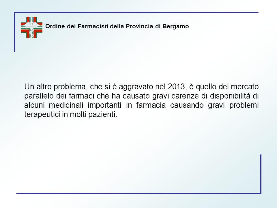 Ordine dei Farmacisti della Provincia di Bergamo Un altro problema, che si è aggravato nel 2013, è quello del mercato parallelo dei farmaci che ha cau