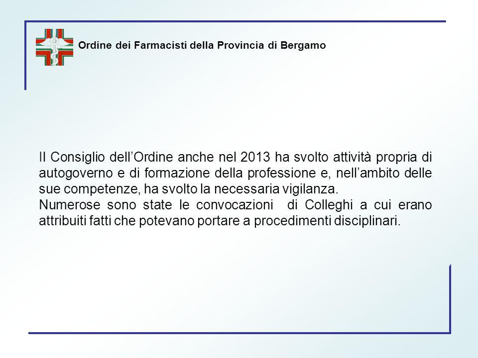 Ordine dei Farmacisti della Provincia di Bergamo Il Consiglio dell'Ordine anche nel 2013 ha svolto attività propria di autogoverno e di formazione del