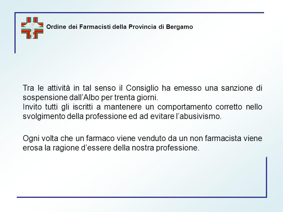 Ordine dei Farmacisti della Provincia di Bergamo Tra le attività in tal senso il Consiglio ha emesso una sanzione di sospensione dall'Albo per trenta