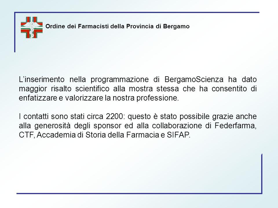 Ordine dei Farmacisti della Provincia di Bergamo L'inserimento nella programmazione di BergamoScienza ha dato maggior risalto scientifico alla mostra