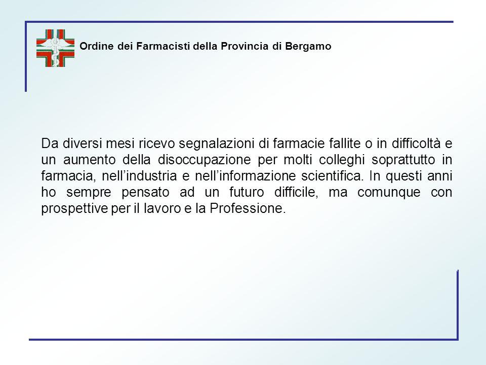Ordine dei Farmacisti della Provincia di Bergamo Da diversi mesi ricevo segnalazioni di farmacie fallite o in difficoltà e un aumento della disoccupaz
