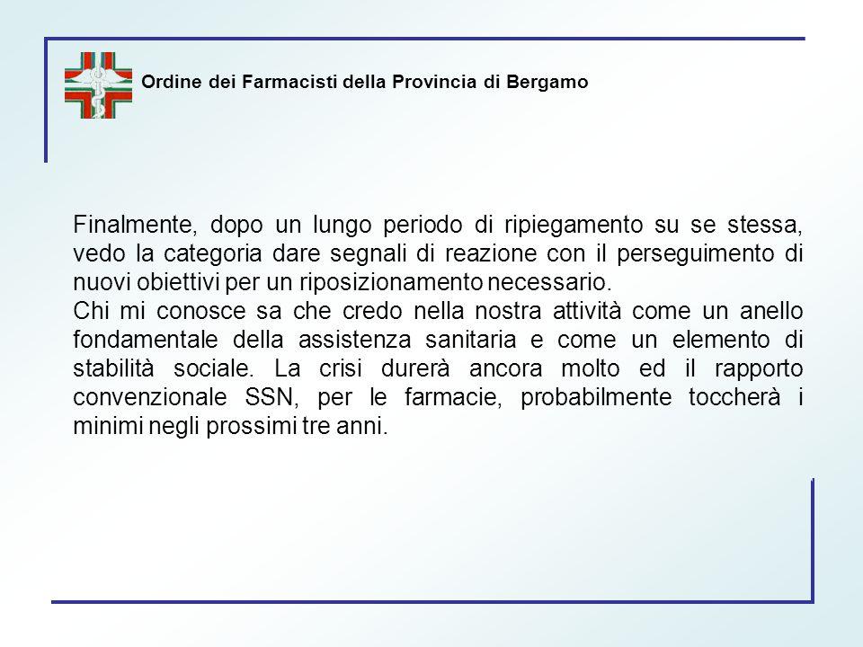 Ordine dei Farmacisti della Provincia di Bergamo Finalmente, dopo un lungo periodo di ripiegamento su se stessa, vedo la categoria dare segnali di rea