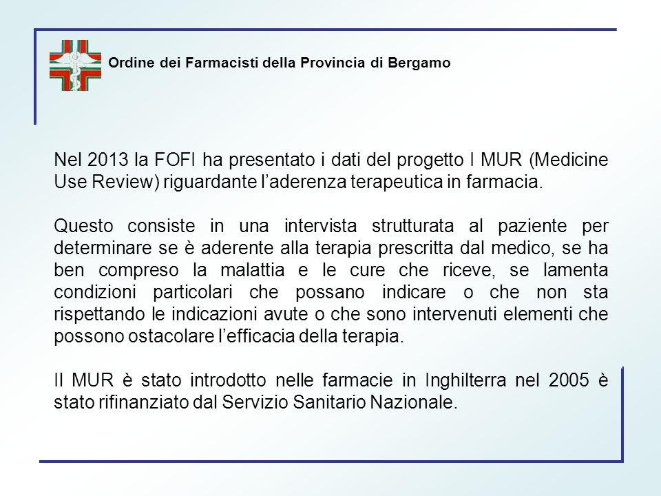 Ordine dei Farmacisti della Provincia di Bergamo Nel 2013 la FOFI ha presentato i dati del progetto I MUR (Medicine Use Review) riguardante l'aderenza