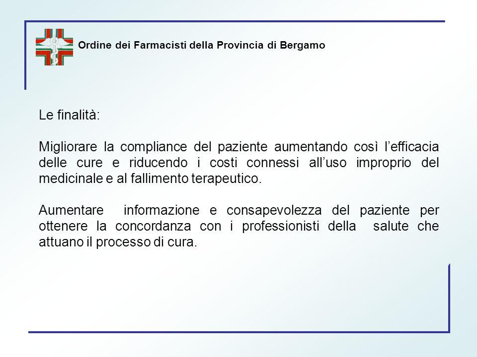 Ordine dei Farmacisti della Provincia di Bergamo Le finalità: Migliorare la compliance del paziente aumentando così l'efficacia delle cure e riducendo