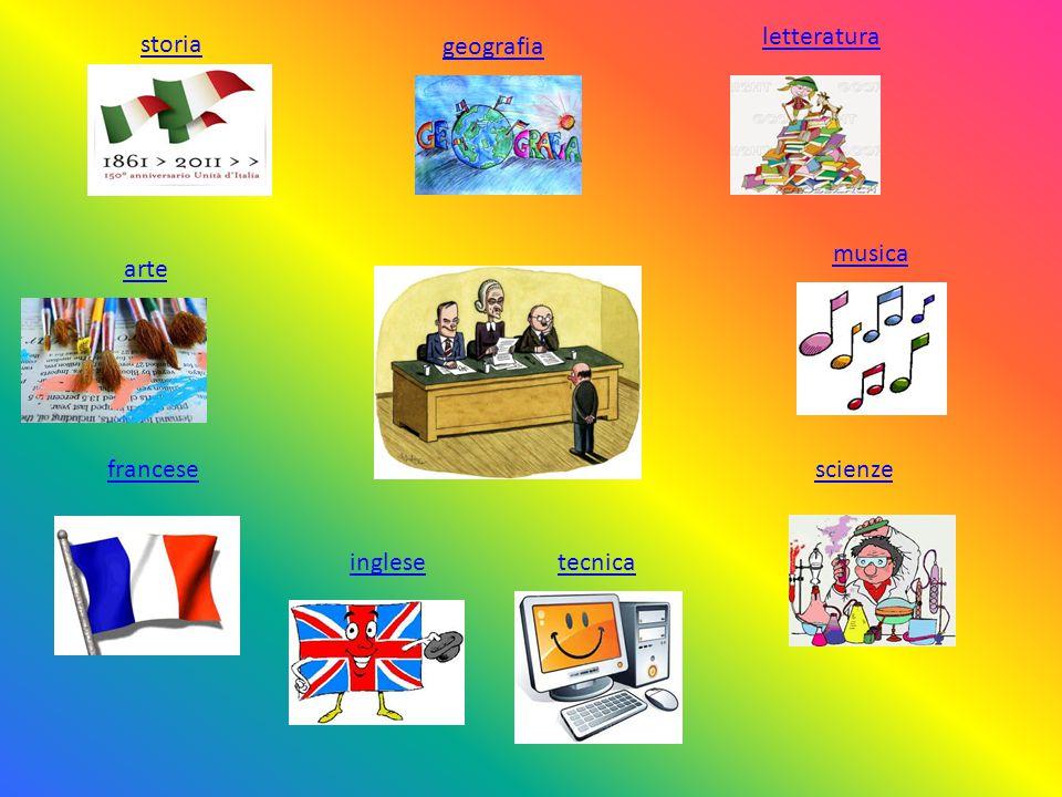letteratura arte tecnica scienze storia geografia musica inglese francese