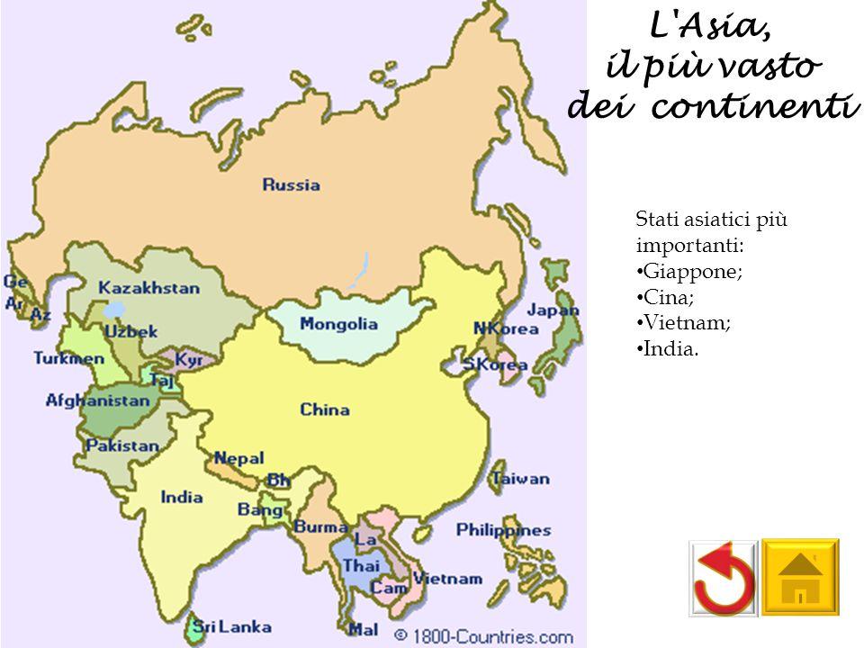 L'Asia, il più vasto dei continenti Stati asiatici più importanti: Giappone; Cina; Vietnam; India.