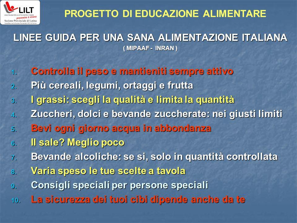 LINEE GUIDA PER UNA SANA ALIMENTAZIONE ITALIANA ( MIPAAF - INRAN ) 1. Controlla il peso e mantieniti sempre attivo 2. Più cereali, legumi, ortaggi e f