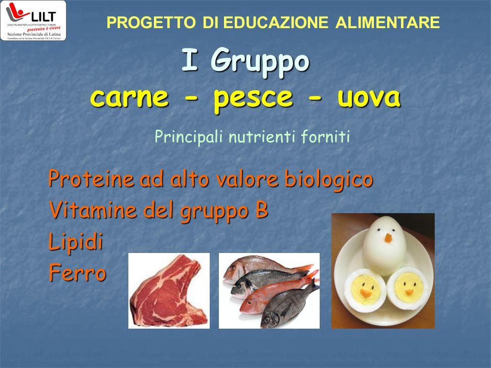 I Gruppo carne - pesce - uova Proteine ad alto valore biologico Vitamine del gruppo B LipidiFerro Principali nutrienti forniti PROGETTO DI EDUCAZIONE