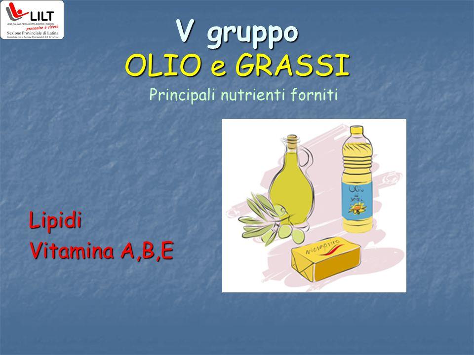 V gruppo OLIO e GRASSI Lipidi Vitamina A,B,E Principali nutrienti forniti
