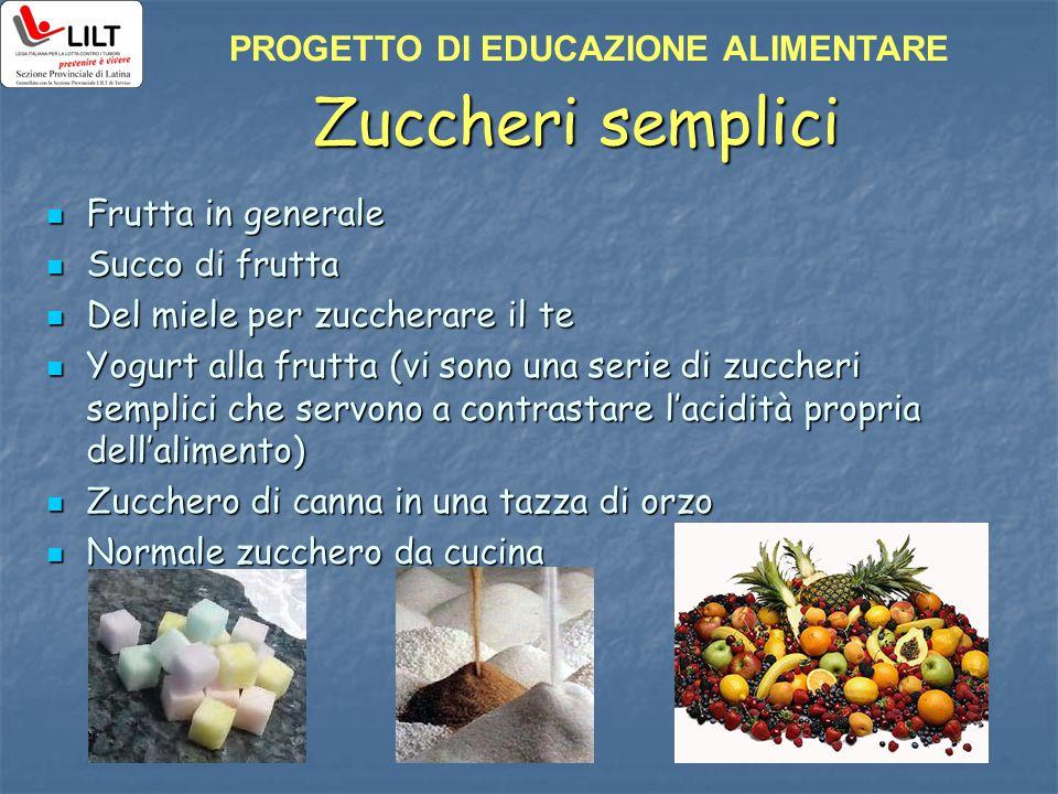 Zuccheri semplici Frutta in generale Frutta in generale Succo di frutta Succo di frutta Del miele per zuccherare il te Del miele per zuccherare il te