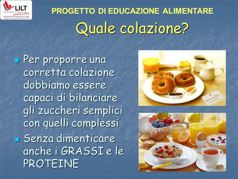 Quale colazione? Per proporre una corretta colazione dobbiamo essere capaci di bilanciare gli zuccheri semplici con quelli complessi Per proporre una